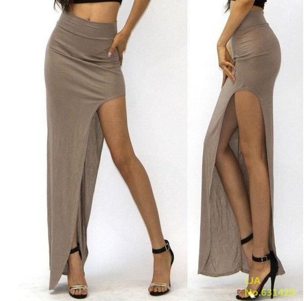 Women Lady Long Skirts Open Side Split Skirt Long Maxi Skirt Black