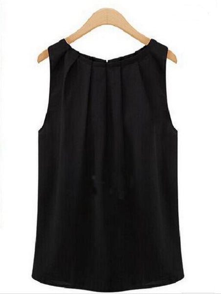 Plus Size Women Cropped Chiffon Blouses Tops Vest Tank Black White Shirt