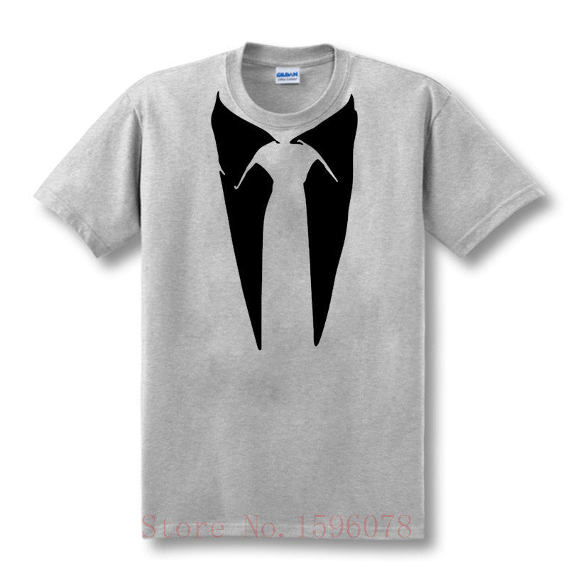 New Novelty Men T Shirts Tuxedo Tees Retro Tie Funny Men O Neck Top Tshirt Casual Fitness Mens ClothinggraySa