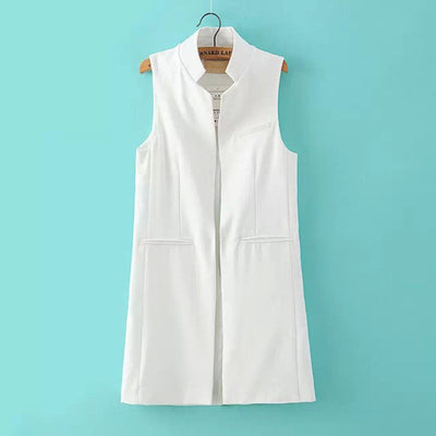 Online discount shop Australia - Fashion Women Open Stitch Slim Waistcoat Long Vest Jacket Casual Thin Outwear Sleeveless Cardigan Plus Size