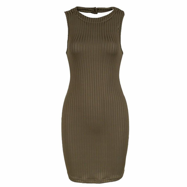 Sheath Dress Sleeveless Backless Sexy Bodycon Dress Mini Club Dress Fashionable Jersey vestido S-XL