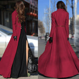 Online discount shop Australia - Fashion  Women Wool Coat Overcoat Patchwork Warm Long Jacket Maxi Dress W020