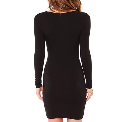 Women Summer Autumn Dress Fashion Casual Elegent Black Dress Vestidos Long Sleeve Mini Bodycon Dress Plus Size XL