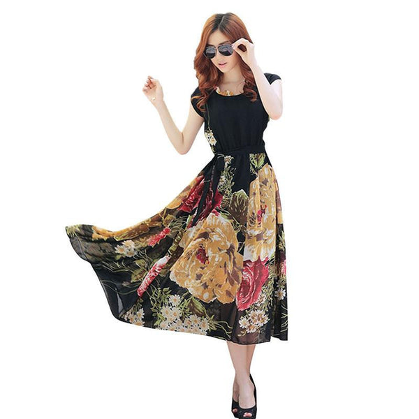 197d91aefdf Summer floral print maxi dresses women casual loose chiffon o-neck long  dress plus size