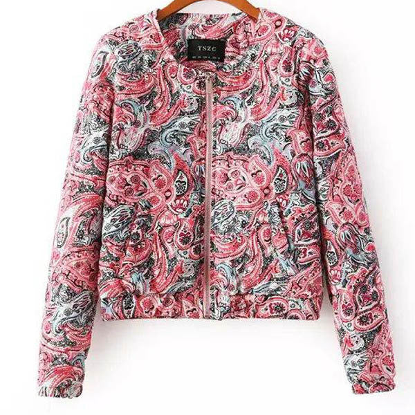 Floral Printed Ladies Jackets  Women Coats And Jackets Long Sleeve Cotton Women's Coat 6332