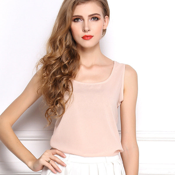 Online discount shop Australia - explosion models candy color chiffon shirt bottoming shirt sleeveless chiffon camisole vest female T-shirt women top