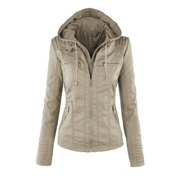 Womens New Faux Twinset Detachable Hat Faux Leather Slim Jacket Hoodie Hooded Zip-up Pockets Outerwear Coats Q4326