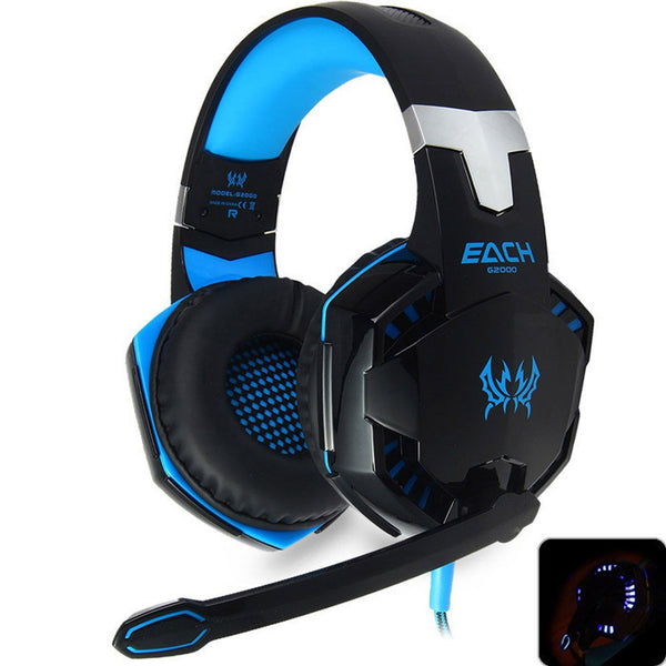 New EACH G2000 Deep Bass Headphone Stereo Surround Over-Ear Gaming Headset Headband Earphone with Light for PC LOL Game