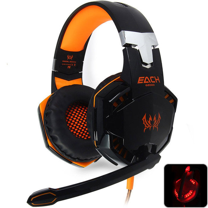 New EACH G2000 Deep Bass Headphone Stereo Surrounded Over-Ear Gaming Headset Headband Earphone with Light for PC LOL GameYellowa