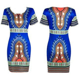 Women Summer Casual Short Sleeve Bohemian Traditional African Print Mini Dress Dashiki Bodycon Beach Dresses