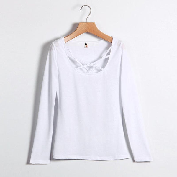 Women T shirt Long Sleeve Hollow Out Spaghetti Strap Slim Fit Solid Crop Top Tee Shirt Tunic