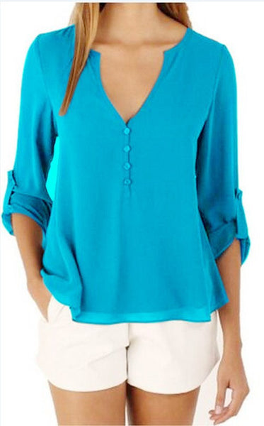 Online discount shop Australia - Chiffon Blouse Women Plus Size 5XL V-Neck Solid Chiffon Sexy Women Blouses Shirt Women Tops CBB121