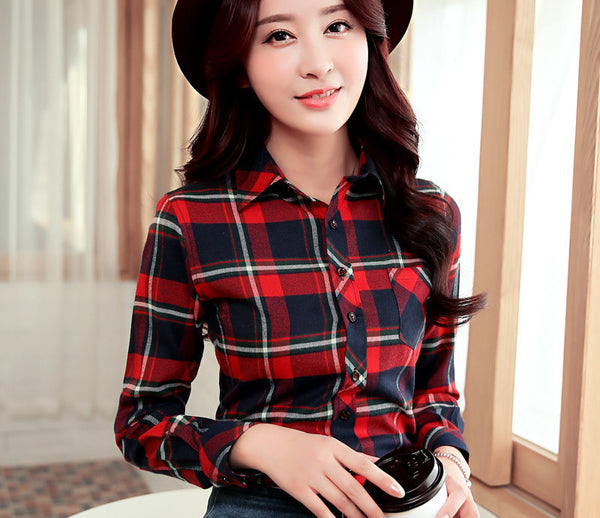 Online discount shop Australia - Brand Women's Clothing Plaid Casual shirts Long Sleeve Shirt Outerwear Loose Plus Size  Blouse