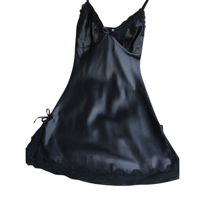 Online discount shop Australia - Ladies Sexy Silk Satin Night Dress Sleeveless V-neck Nightgown Lace Sleepwear For Women