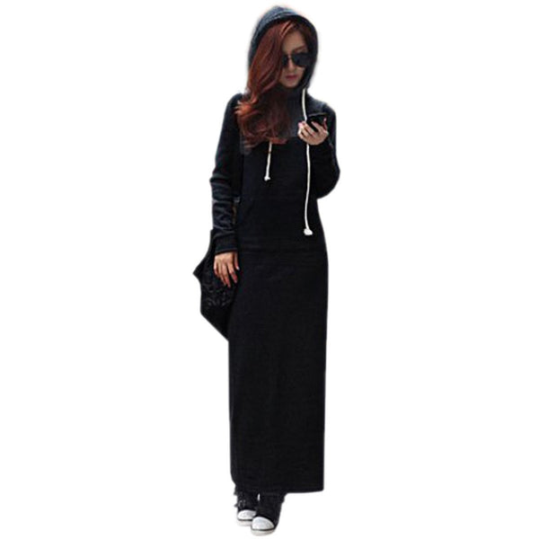 Women Black Gray Sweater Dress Warm Fur Fleece Hoodies Long Sleeve Slim Maxi Long Dresses Vestidos Femininas