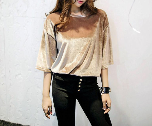 Fashion half sleeve Velvet T-shirt,College Style Pleuche T Shirt Tops