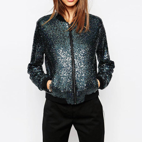 Online discount shop Australia - Fashion Women Blingbling sequined outwear coats casual Loose Bomber Jackets for and
