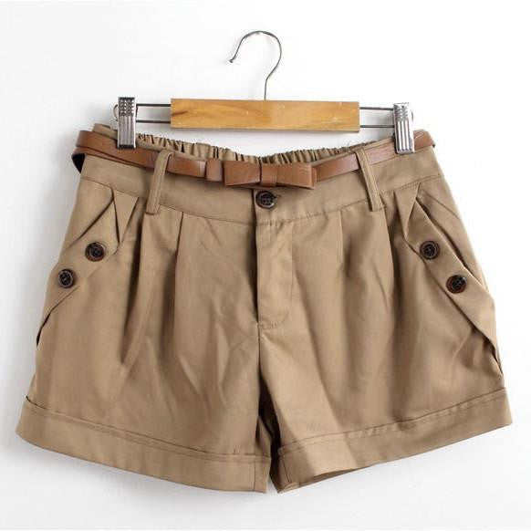 Women Summer Shorts Short Woman Casual Ladies Shorts Without Belt A0016