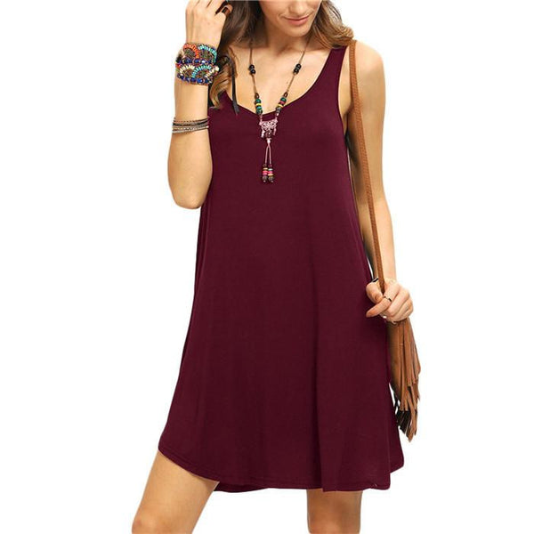 Woman Swing Tank Dresses Summer Style New Arrival Casual Sleeveless Crew Neck Shift Short Dress