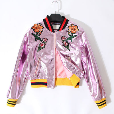 Online discount shop Australia - metal laser PU leather embroidered flowers bomber jacket women basic coat new clothing fashion