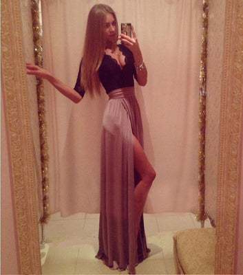 New Lady Sexy Lace Bandage Party Clubwear Women Long Sleeve Maxi Long Side Slit Dress with bow belt