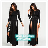 Online discount shop Australia - 2016 New Women Dress Sexy Club High Split Dress Long Sleeve Black Double High Slit Slim Maxi Party Dress Fashion Dress NC-465