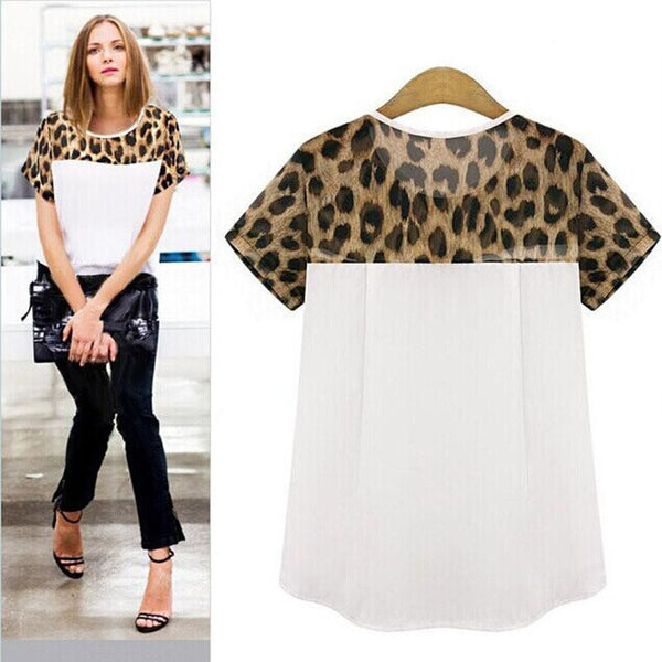 Online discount shop Australia - Feitong 2 Colors Plus Size 3XL  Women Casual Clothing Leopard Printing Patchwork Chiffon Tops Tee Shirt