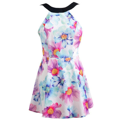 Summer Dress Casual Women Dress Print Floral Backless Sleeveless Dresses Party Spaghetti Strap Plus Size Dress