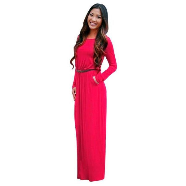 Woman Fashion Pocket Long Sleeve Long Maxi Dresses Black Dress Plus Size