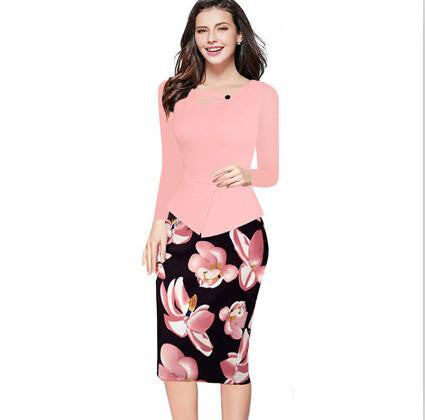 Women Floral Print Patchwork Working Sheath Long Sleeve Bodycon Office Plus Size 4XL 5XL Pencil Dress