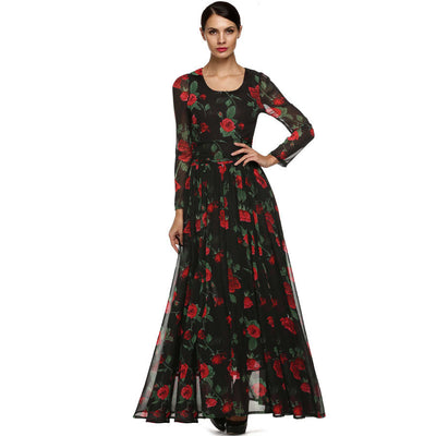 Online discount shop Australia - Dress Fashion Women Ladies Tunic Maxi Long Chiffon Dress Long Sleeve Floral Rose Dress Plus Size