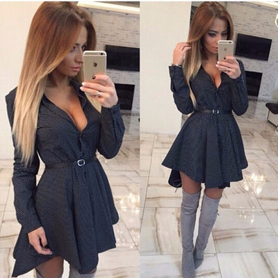 Online discount shop Australia - Fashion Small Dots Printed Shirt Dress Fall Casual Long Sleeve Sexy Mini Party Dresses plus size clothing