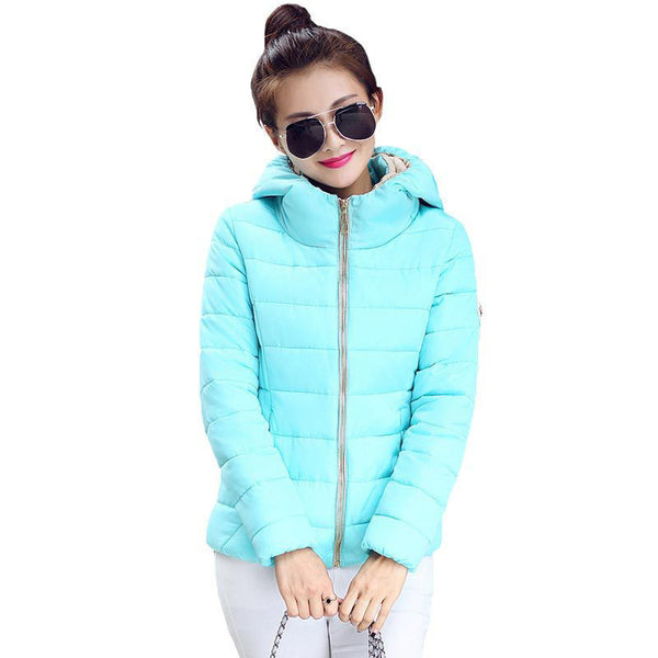 Online discount shop Australia - Jacket Women Hooded Parka Slim Cotton-Padded High Neck Candy Color Cotton Jacket Coat Plus Size z84