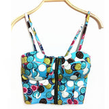 Women Tops Zipper Floral Padded Bustier Crop Tops Zipper Bra Party Cami Tank