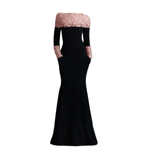 VE1020 Boat neck pink lace long sleeve dress Spring women bodycon elegant dress New arrival plus size black long dress