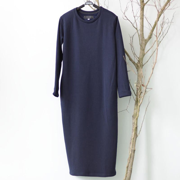 Winter Dress Women Dress Plus Size Velvet Thickening Thermal Basic Dress Long Sleeve Solid Warm Dress S59