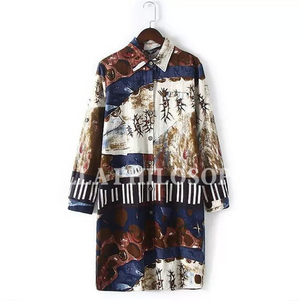 Online discount shop Australia - cotton and linen ethnic Graffiti printed plus size women's clothing long sleeve long shirt blouse real photo