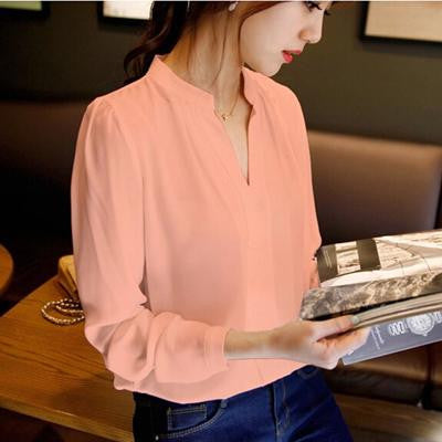 Online discount shop Australia - chiffon blouse ladies candy color elegant v-neck blouses long sleeve chiffon shirt work tops