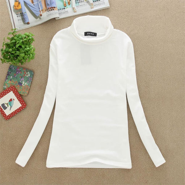 Women Turtle Neck T Shirts Long Sleeve High Neck Warm Top Milk Silk Base Shirt Solid Color