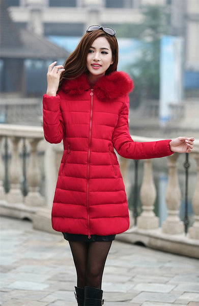 Women Thick Casual Down Cotton Parka Long Fur Collar Hooded Coat Jacket Plus Size 5XL