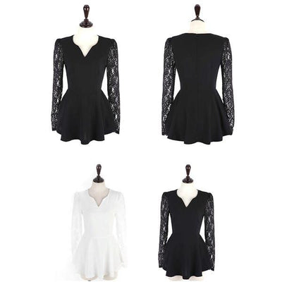 Women Sexy V-neck Blouse Lace Long Sleeve Shirts Chiffon Tops Blouse S-XL Women Clothes