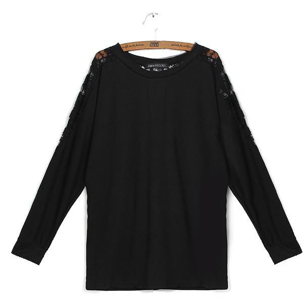 Women New Fashion Blouses Lace Bawting Sleeve O Neck Casual All Match Shirts Plus Size M-XXXXL