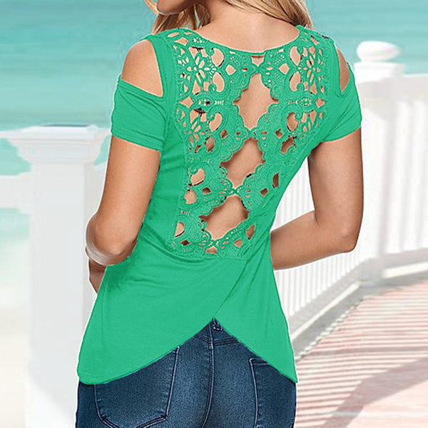 Sexy Retro Lace Short Sleeve Hollow Backless Off Shoulder Tee Tops Solid Blouse Shirt Women Plus Size