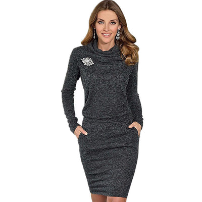 Online discount shop Australia - Fashion Women Elegant Autumn Dress Long Sleeve Turtleneck Dresses Package Hip Solid Bodycon Vestidos Without Brooch M0431