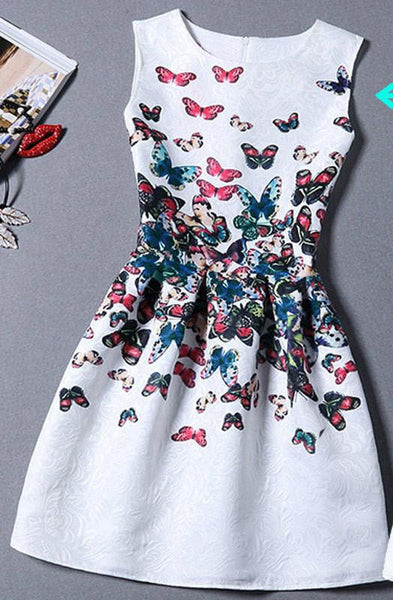 Summer Dress Women Butterfly Sleeveless Casual Dresses Ladies vintage print plus size jacquard clothing