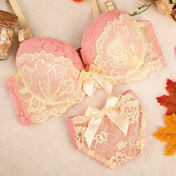 Intimates Double Layer Lace Bra Set Lingerie Push up Sexy Bra Lovely Underwear gathering Bra Briefs Embroidery
