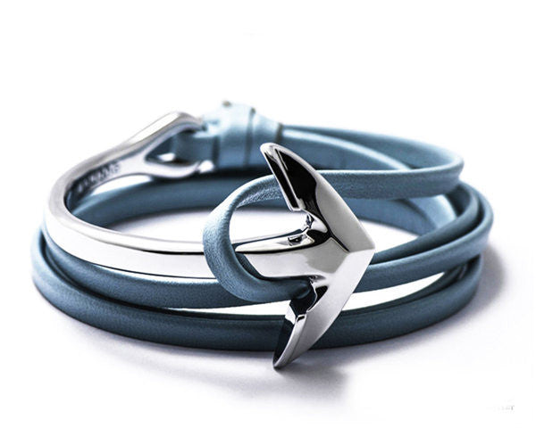 Online discount shop Australia - New Anchor Bracelet Men Women Leather Wap Bracelets Half Bend Anchor Bangles Jewelry