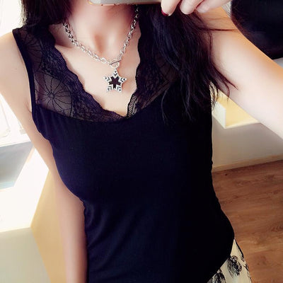 T shirt Women Tops Sexy Fashion V-neck Tops Lace Patchwork Sleeveless tee shirt