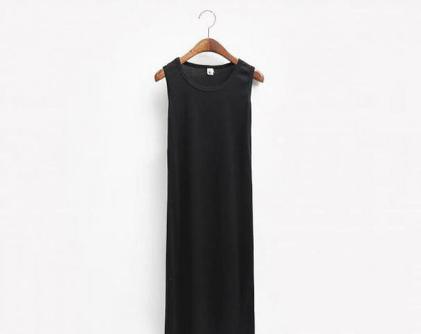 Summer Dress Sexy Women Beach Maxi Dress Solid O-neck Sleeveless Casual Dress Elegant Evening Party Dresses