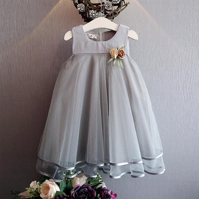 b5457d2e7 Girls Dress Brand Princess Dress Sleeveless Appliques Floral Design ...